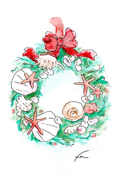 Shell Wreath Original Watercolor 4x6-fercaggiano