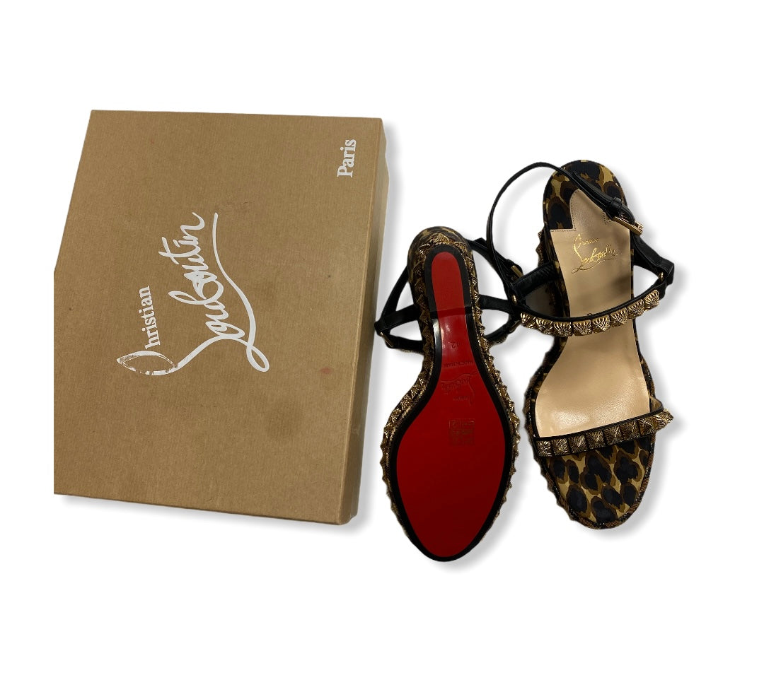 Photo #1 - BRAND: CHRISTIAN LOUBOUTIN <BR>STYLE: SANDALS LOW <BR>COLOR: ANIMAL PRINT <BR>SIZE: 11 <BR>SKU: 190-190106-52920