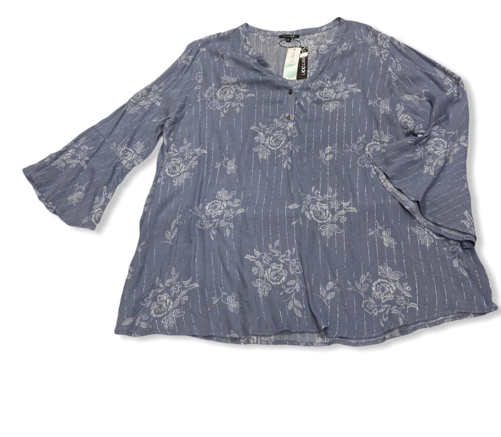 Primary Photo - BRAND: PAPERMOON <BR>STYLE: TOP LONG SLEEVE <BR>COLOR: BLUE <BR>SIZE: 3X <BR>SKU: 190-190106-51976