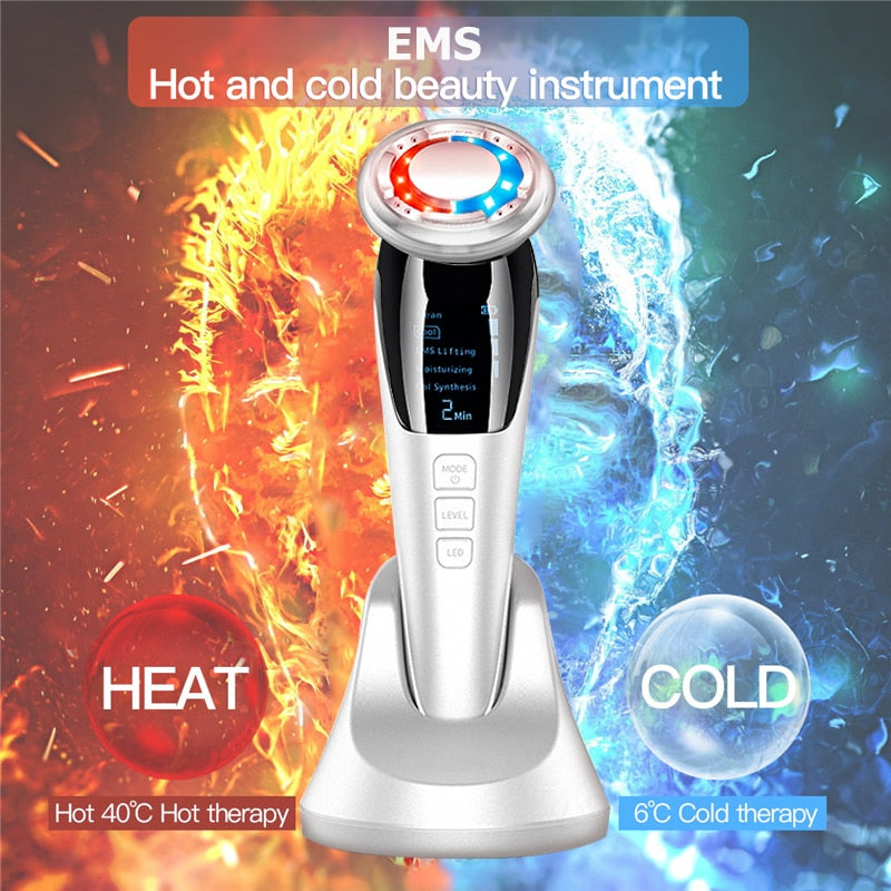 Ultrasonic Hot Cool EMS Facial Lifting Massager Ion LED Light Therapy - Lavish Online Shoppe