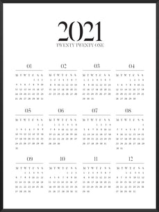 2021 Yearly Calendar - Typography