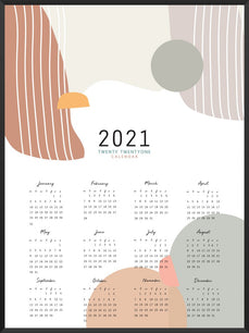 2021 Yearly Calendar Colourful