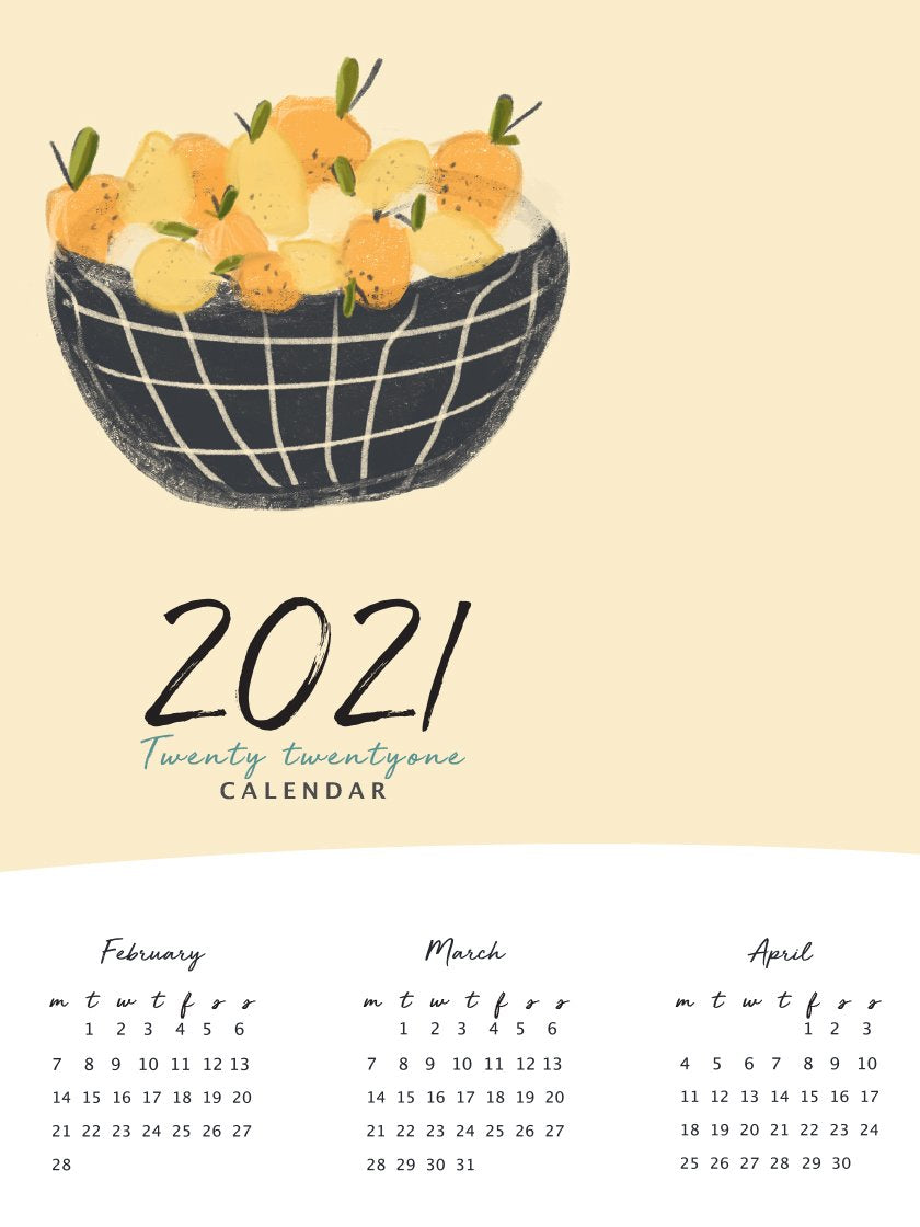 2021 Yearly Calendar Lemon