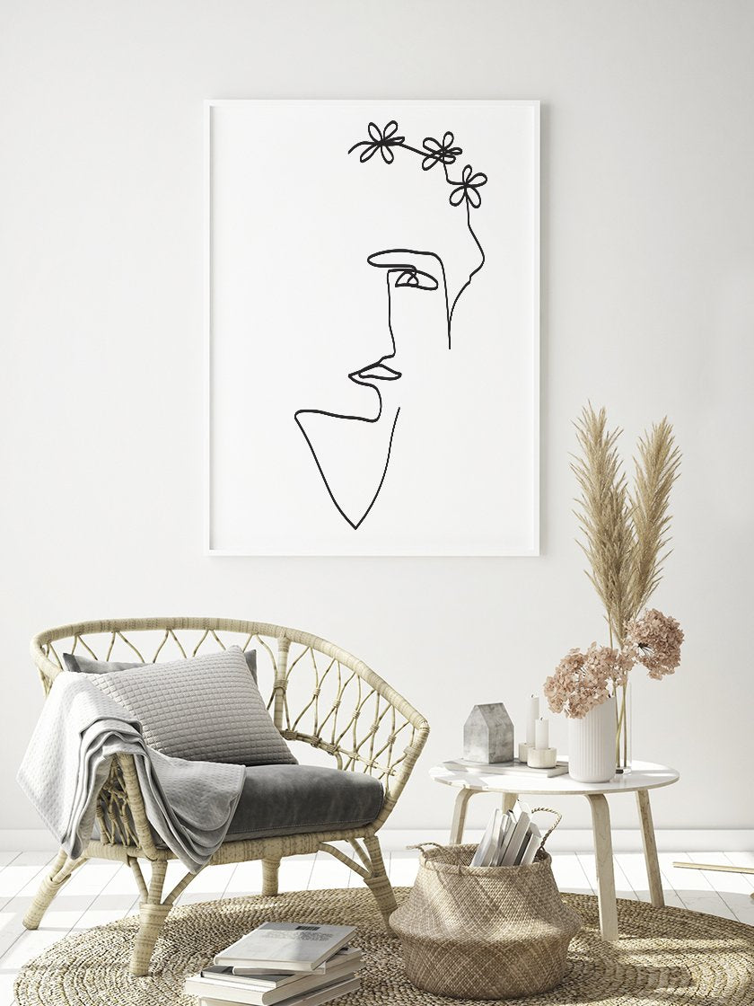 flower-lady-single-line-art-poster-in-interior-living-room