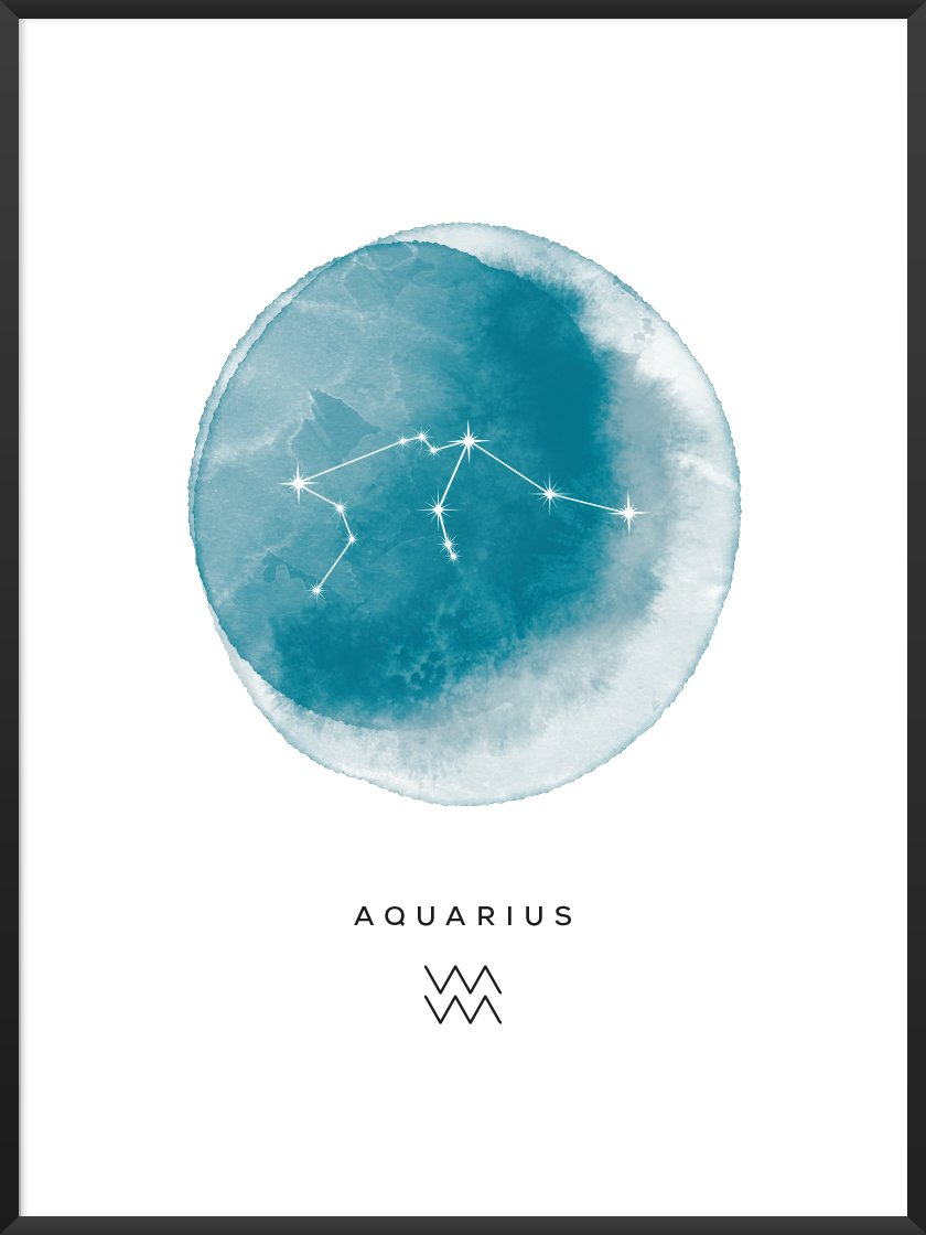 Aquarius Watercolour - Wassermann Sternzeichen Poster