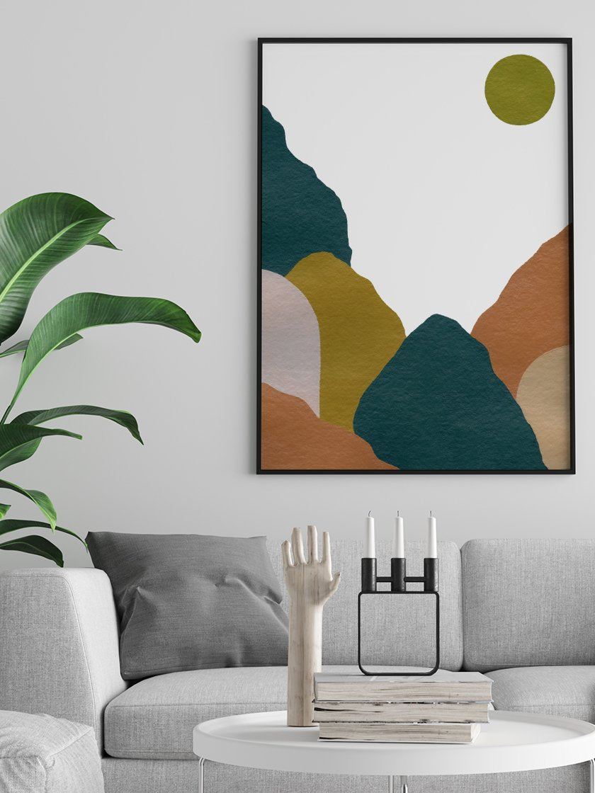 project-nord-abstract-blue-mountains-poster-in-interior