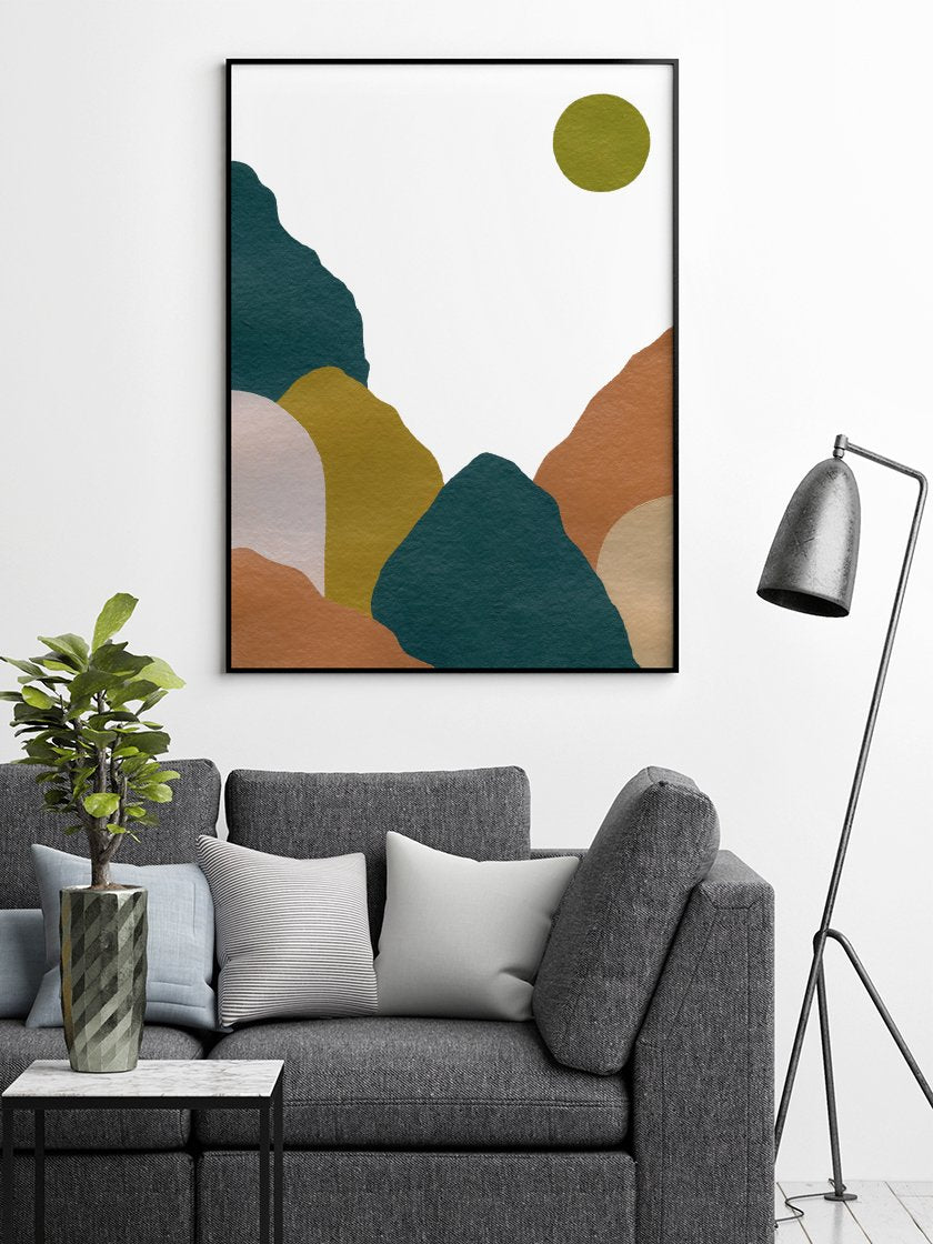 project-nord-abstract-blue-mountains-poster-in-interior-living-room