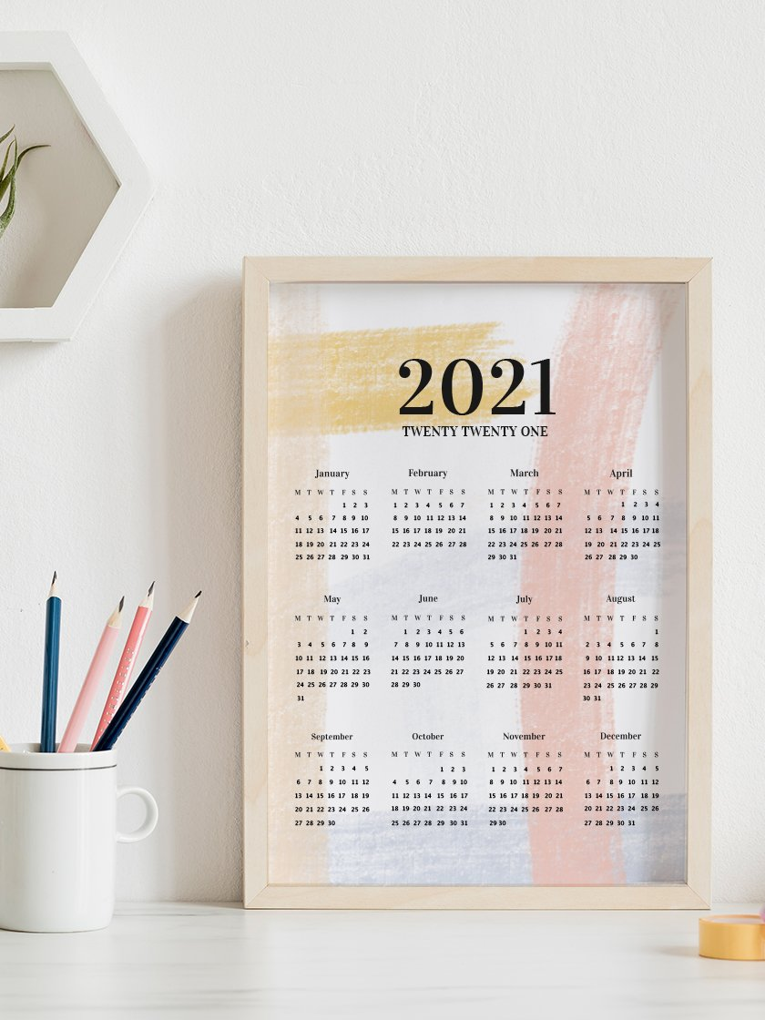 2021 Yearly Calendar Brushstrokes