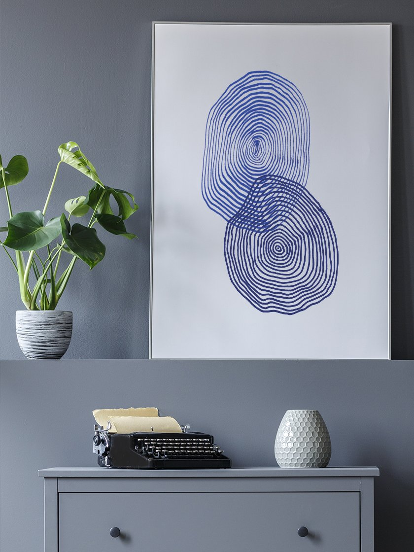 project-nord-les-cercles-blue-abstract-poster-in-interior-hallway