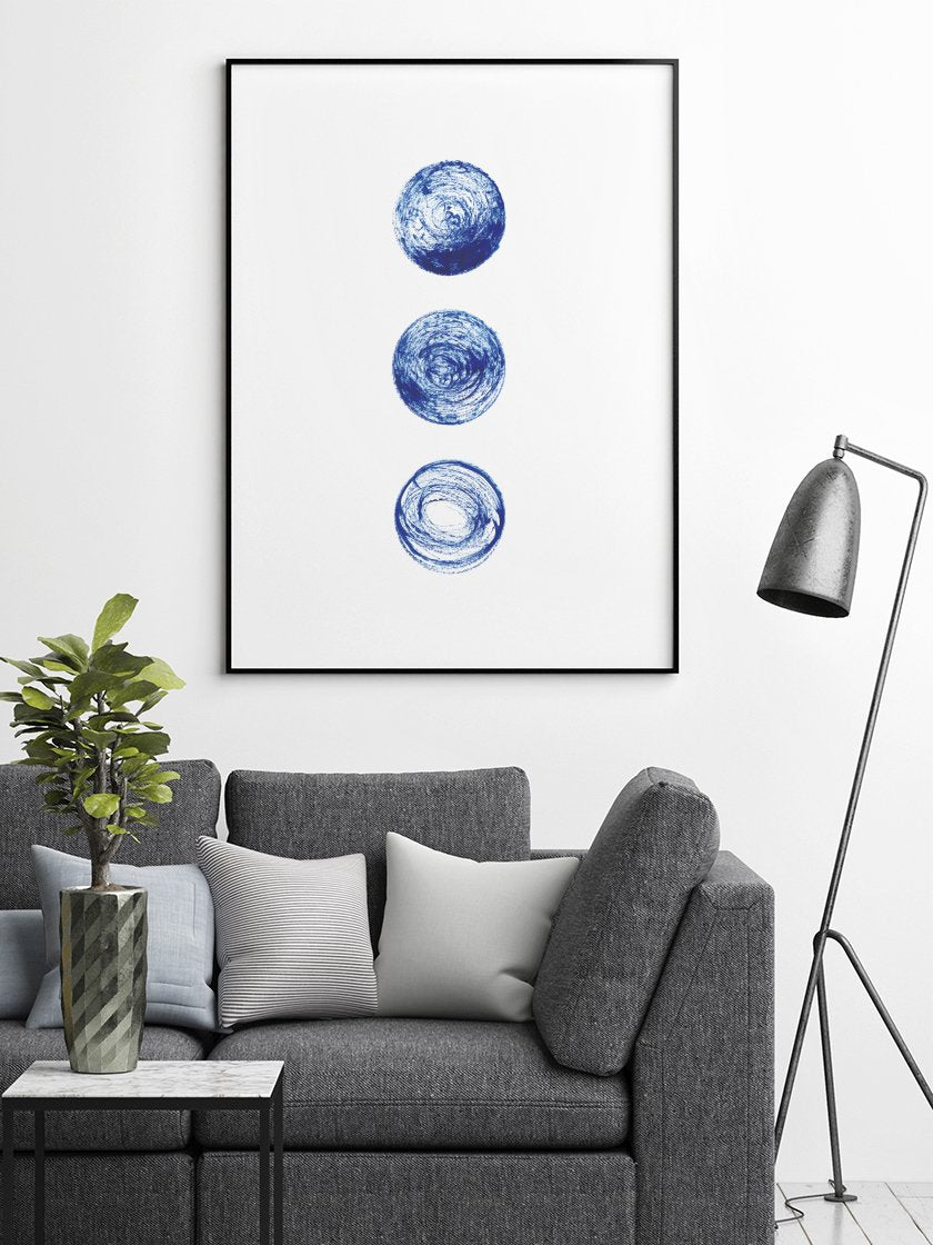 project-nord-les-lunes-bleues-blue-circles-poster-in-interior-living-room
