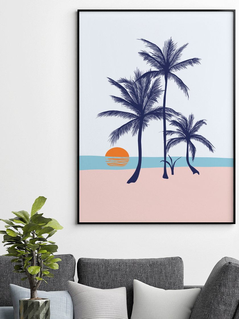 Palms on the Beach - Poster