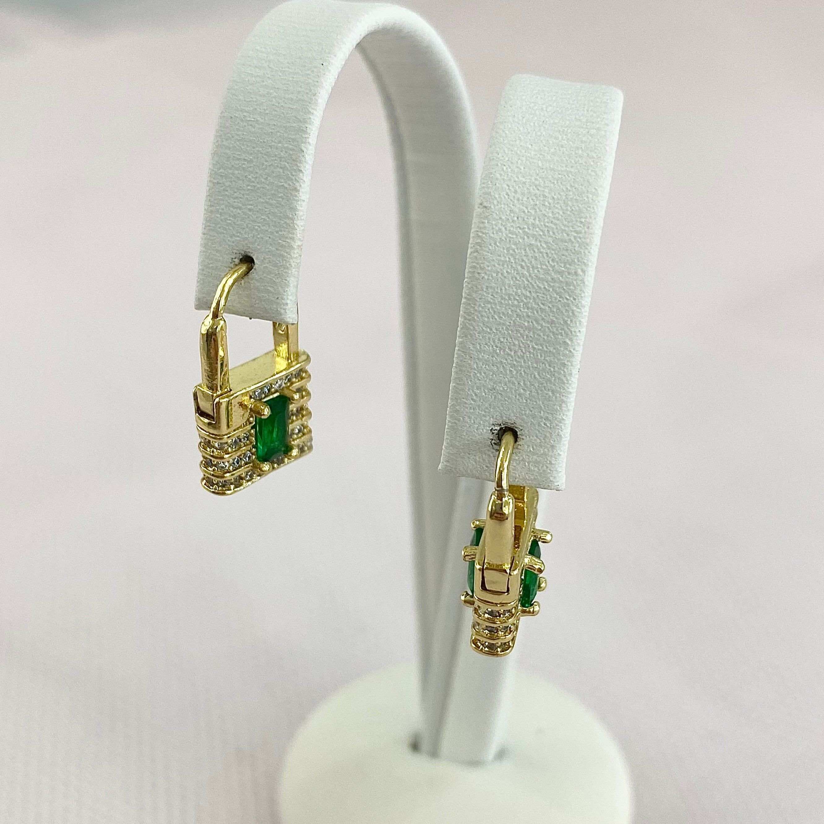 Emerald Mini Locket Earrings.