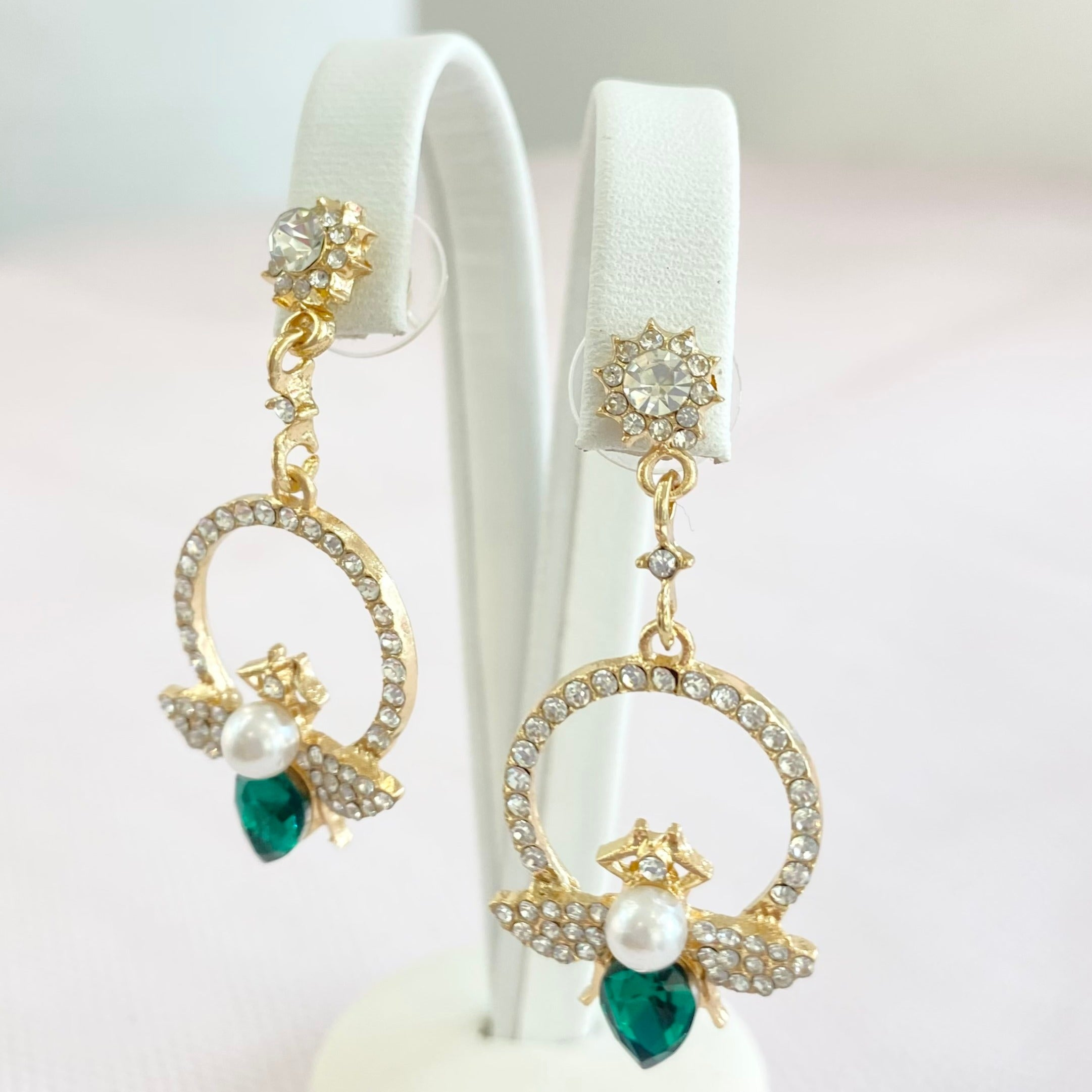 Gold Emerald Bumble Circle Earrings.