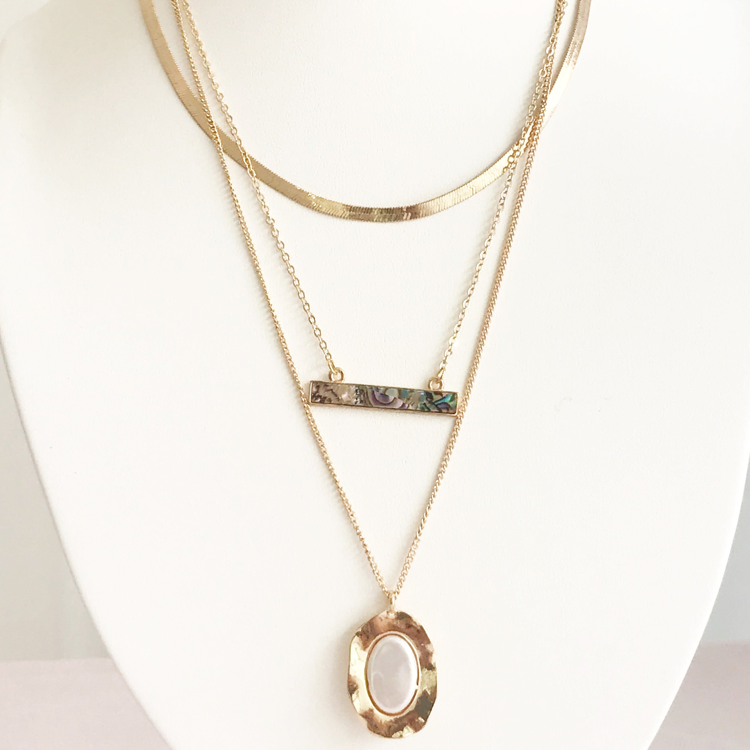 Marble Gold Layered Necklace