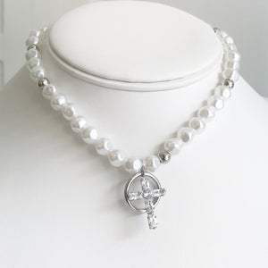 Pearl And Cross Choker Rhinestone Necklace