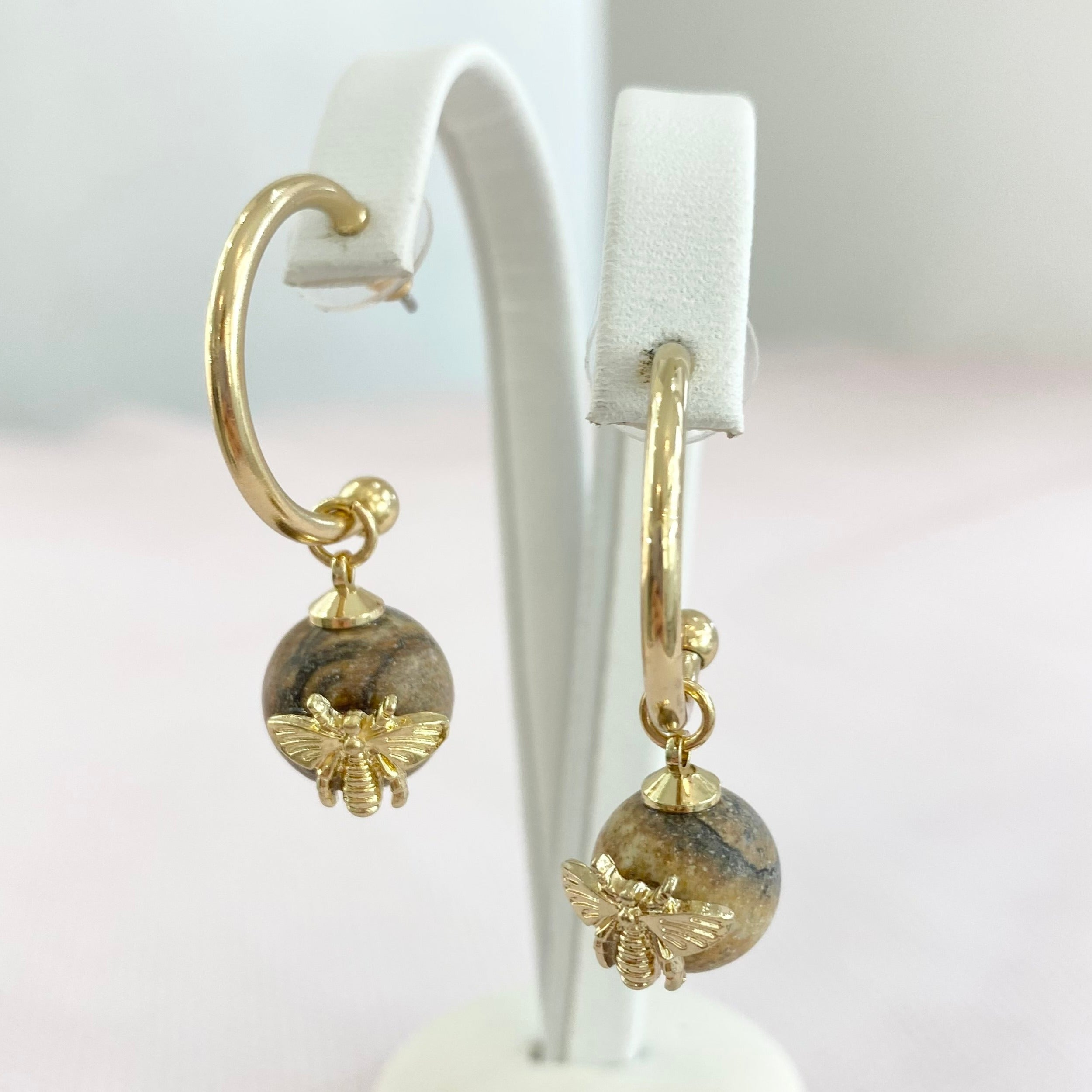 Marble Gold Bee Hoops.