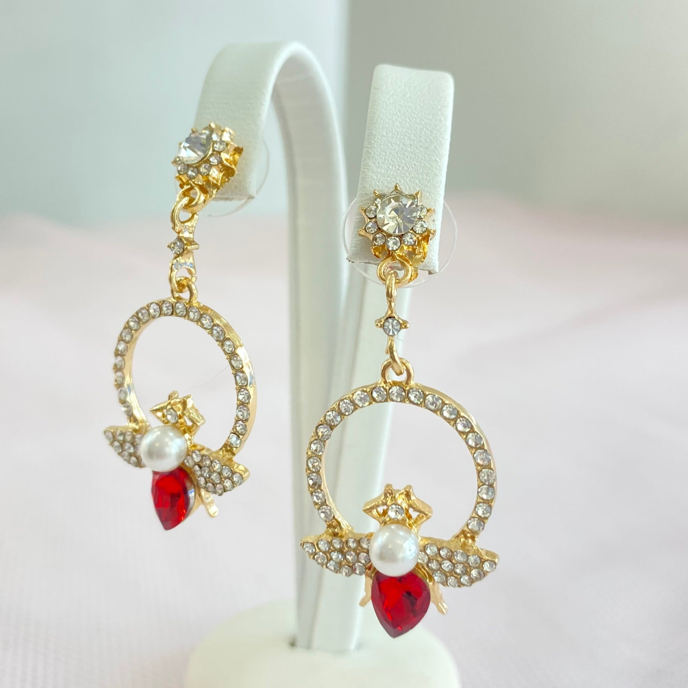 Gold Ruby Bumble Circle Earrings.