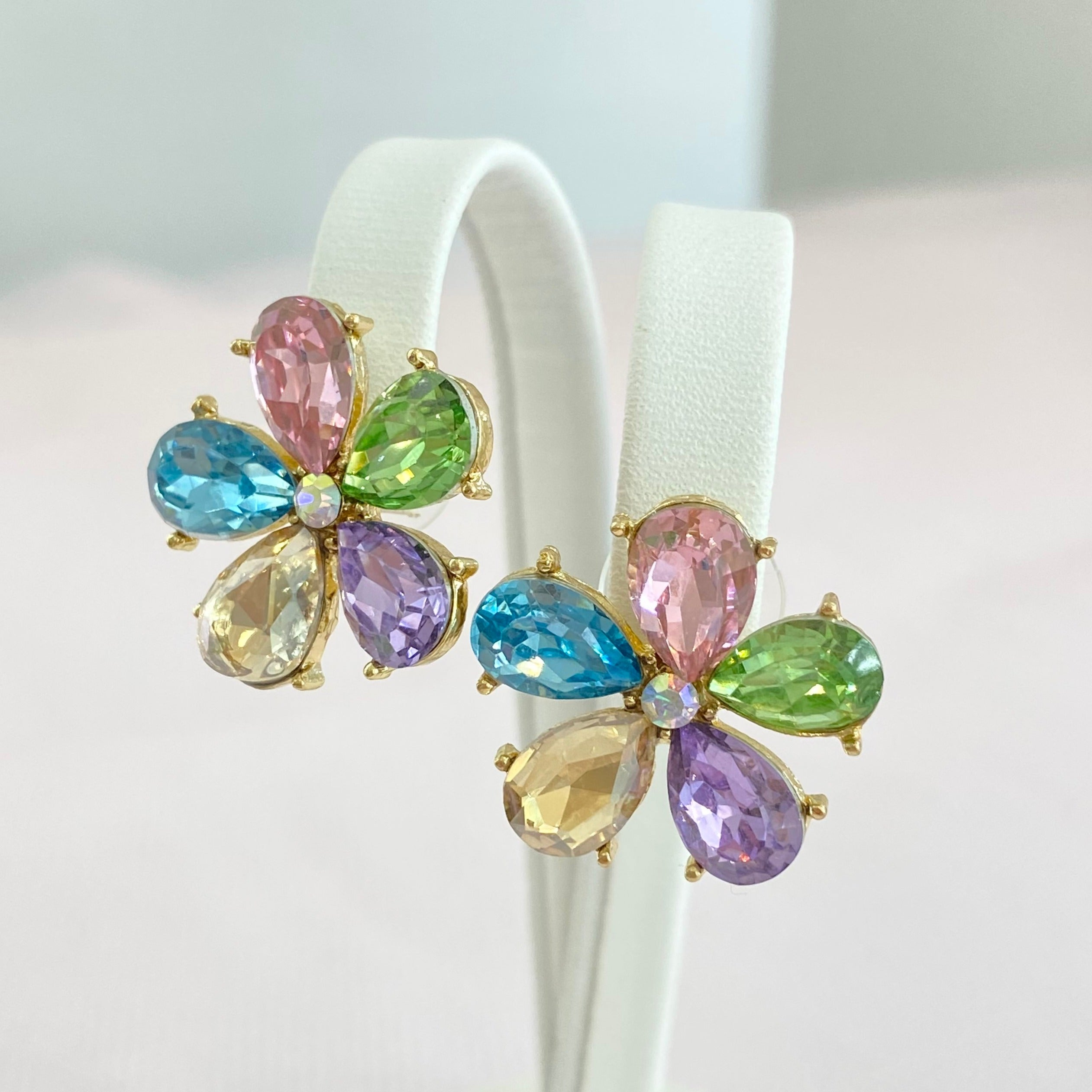 Multi-coloured Crystal Flower Studs.