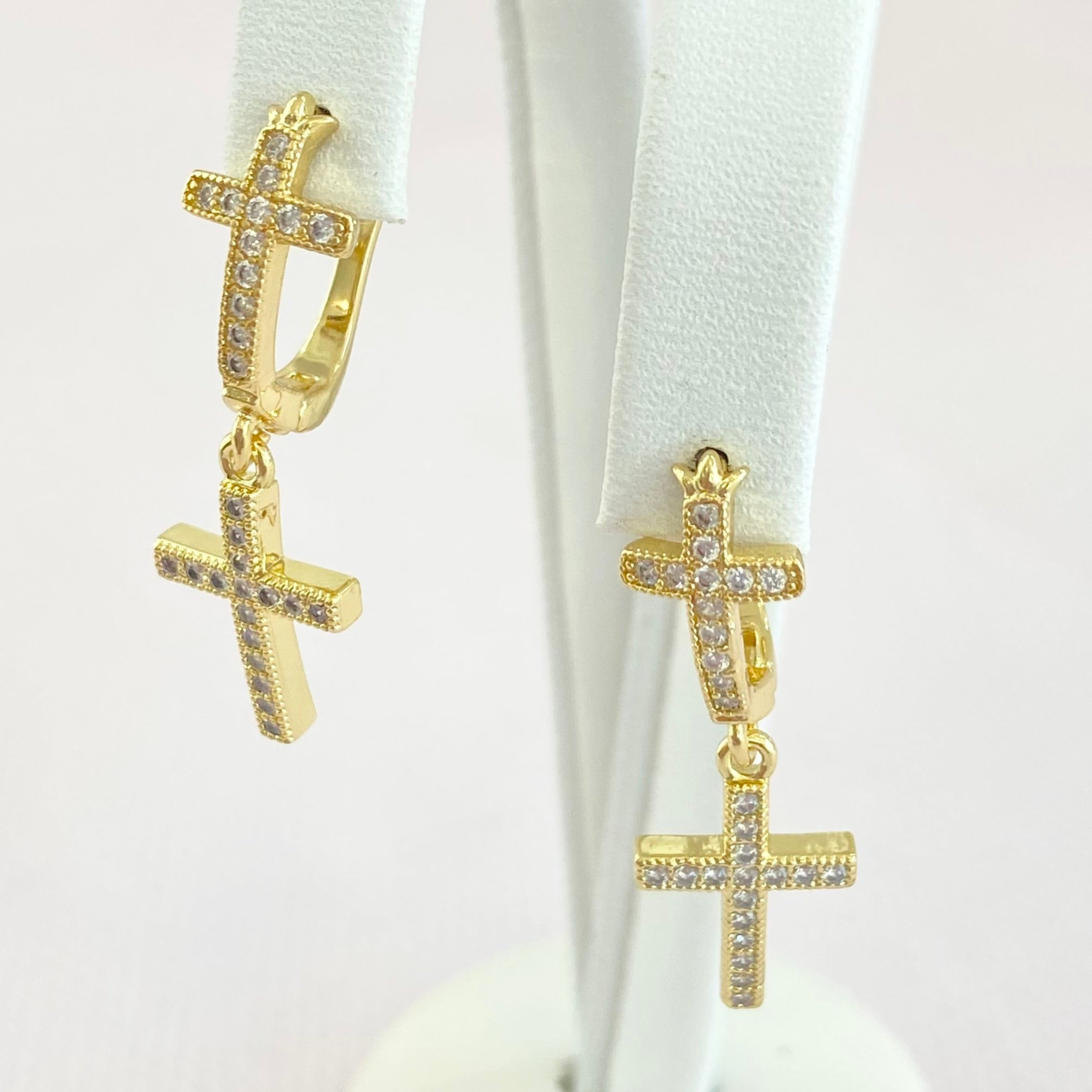 Gold Cross Rhinestone Earrings.