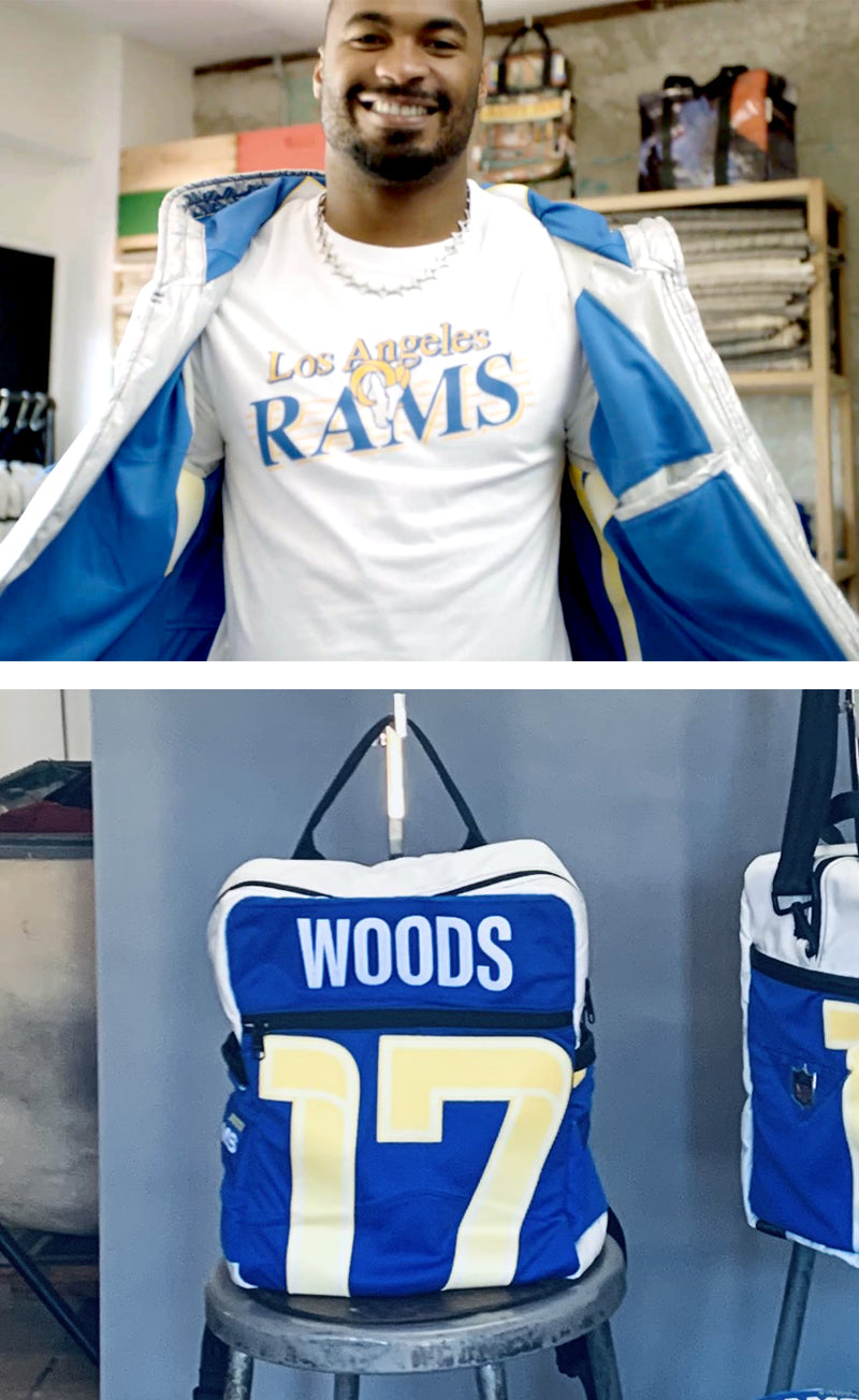Los Angeles Rams upcycled jerseys sustainable jerseys robert woods