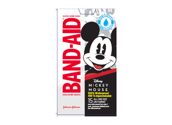 Band-Aid Waterproof Mickey Mouse Theme 15 Count All One Size