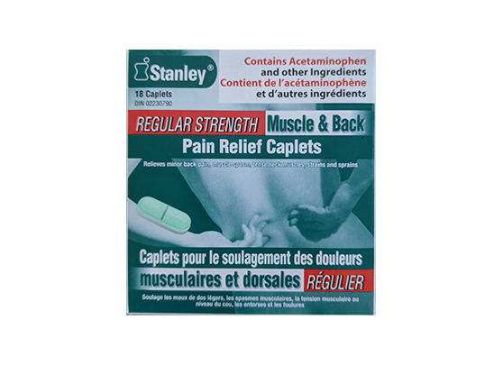 Stanley Regular Strength Muscle and Back Pain Relief 18 Caplets