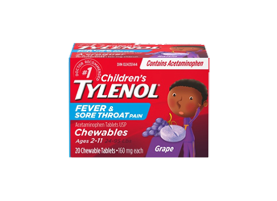 Tylenol Children's Fever & Sore Throat Pain Chewable Tablets