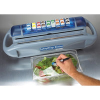 San Jamar SW1218 Saf-T-Wrap Film / Foil Station with Safety Blade and Label Dispenser 12 to 18 inch rolls