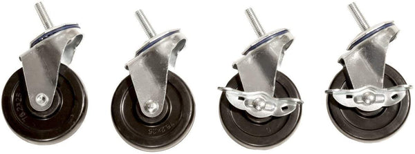 "Seville Classics SHE24004 Steel Wire Shelving System Casters, 3"""" Diameter, Set of 4"""