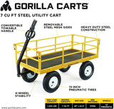 "Gorilla Carts Heavy-Duty Steel Utility Cart with Removable Sides and 13"" Tires, 1200-lbs. Capacity, Yellow"