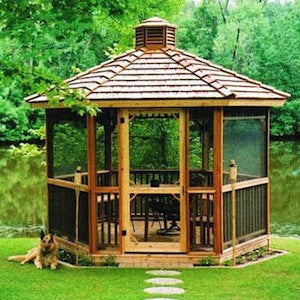 ten foot hexagon gazebo with optional two tier roof, cupola and screens