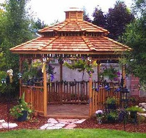 fourteen foot octagon gazebo with optional two tier roof and cupola