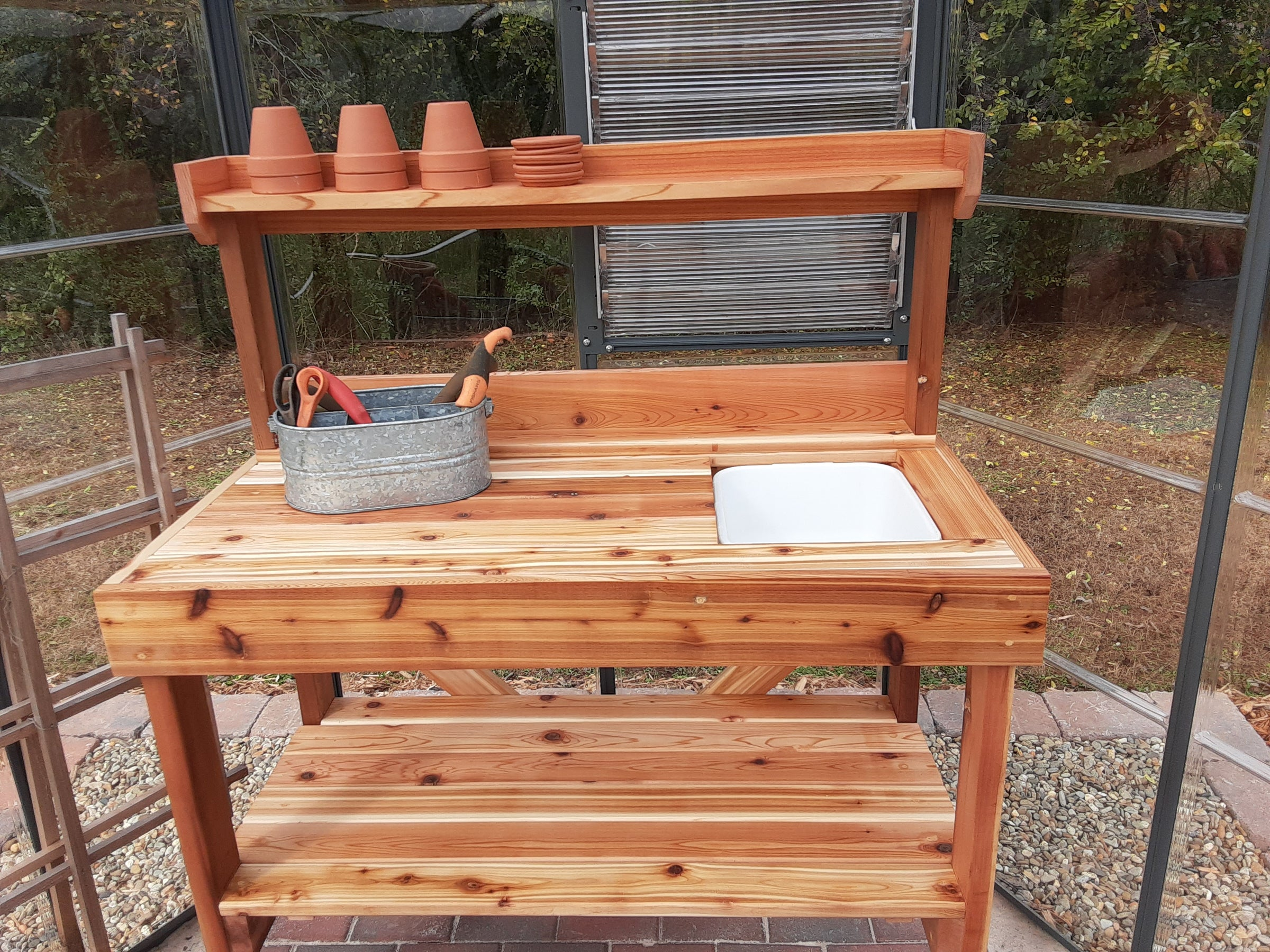 Garden Potting Bench Kits Cedar Potting Benches With Sink Cedarshed Usa