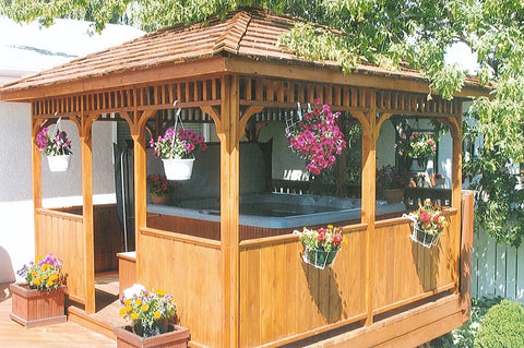 square gazebo with hot tub