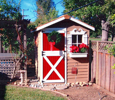 Gardener Shed with painted red door