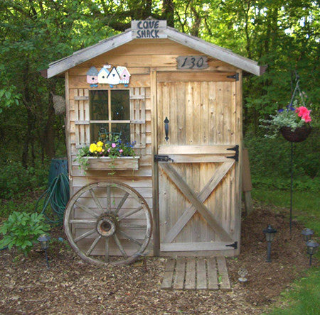 customer's rustic looking gardener shed