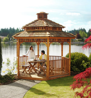 10' Hexagon Gazebo w Cupola and 2 Tier Roof