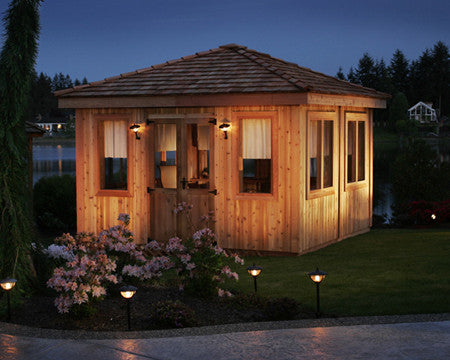 Square Spa Enclosure at Night