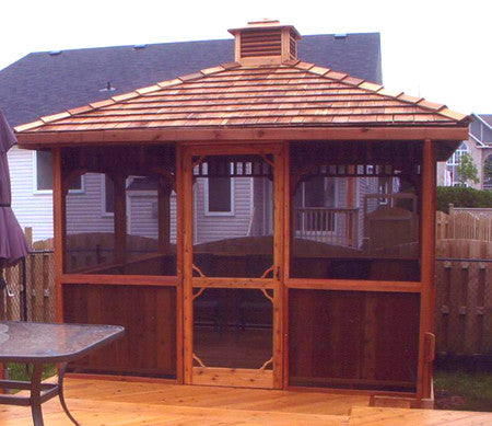 Cedarshed Square Gazebo with Screen Kit and Cupola options