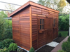 dark stained studio shed