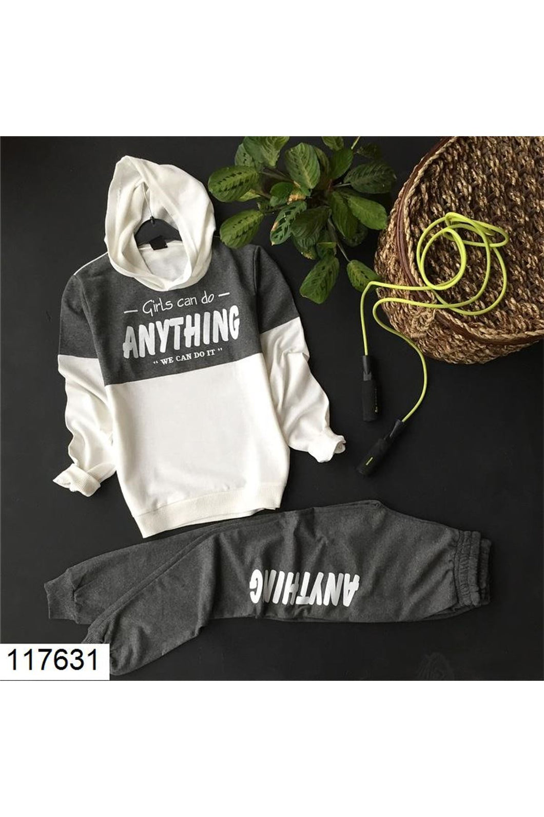 Women's Hooded Text Print Ecru- Anthracite Tracksuit