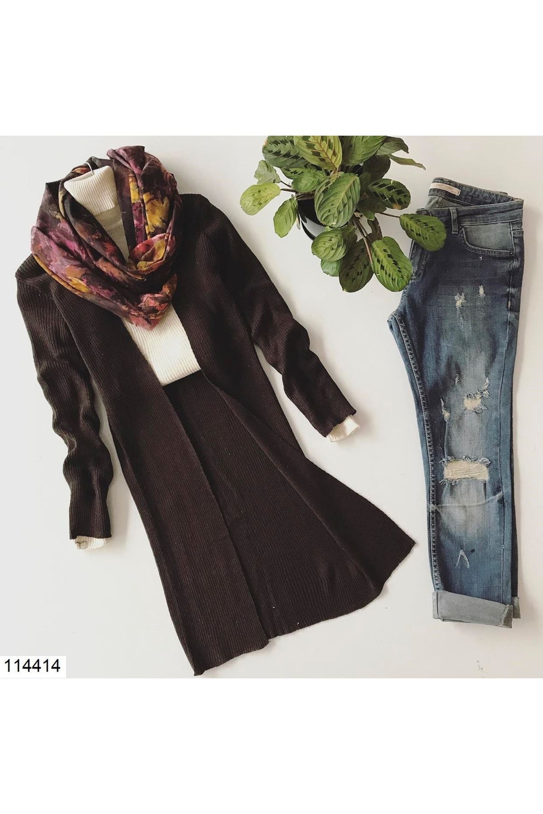 Women's Long Brown Cardigan