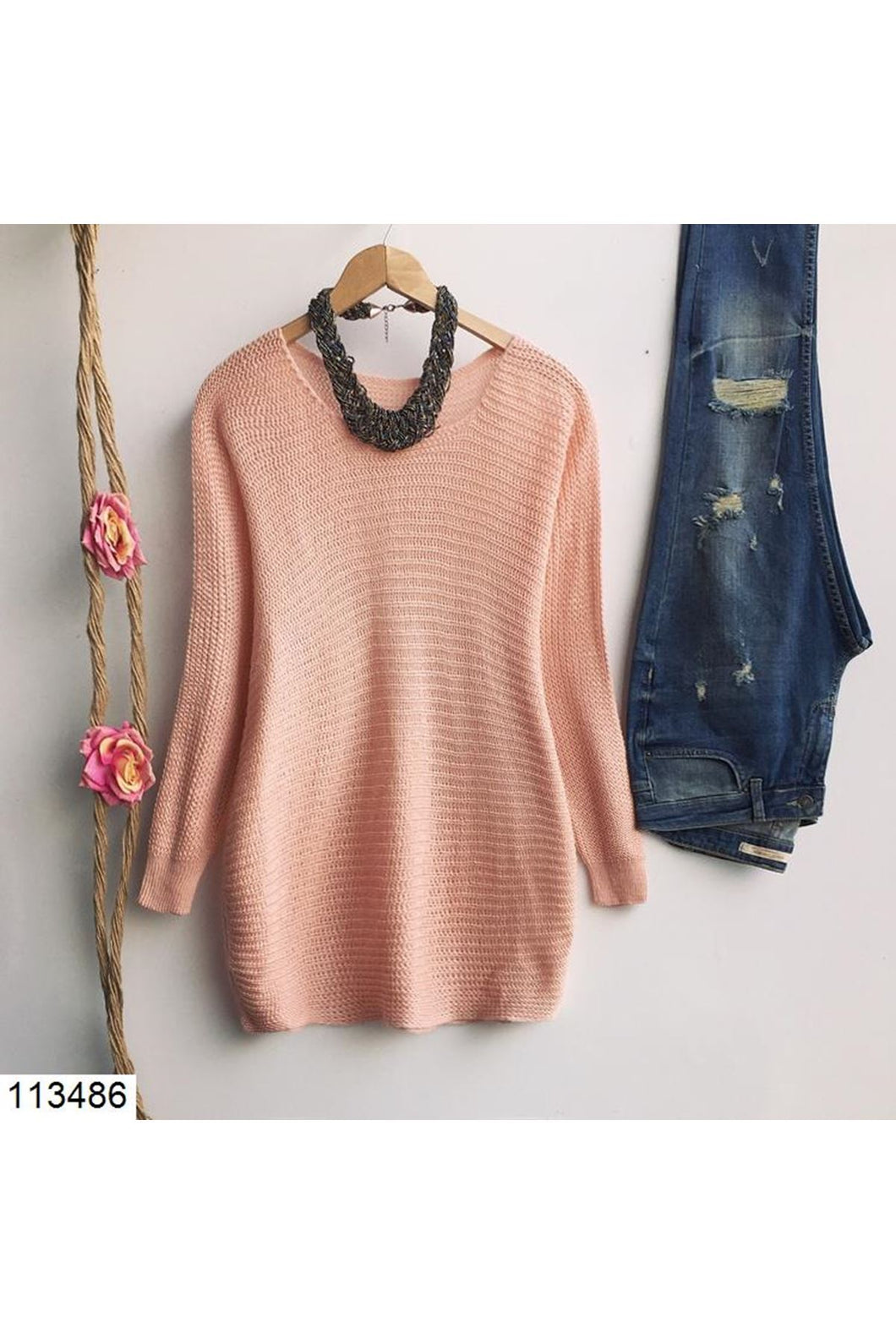 Women's Powder Rose Tricot Sweater