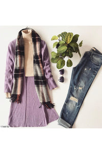 Women's Long Lilac Tricot Cardigan