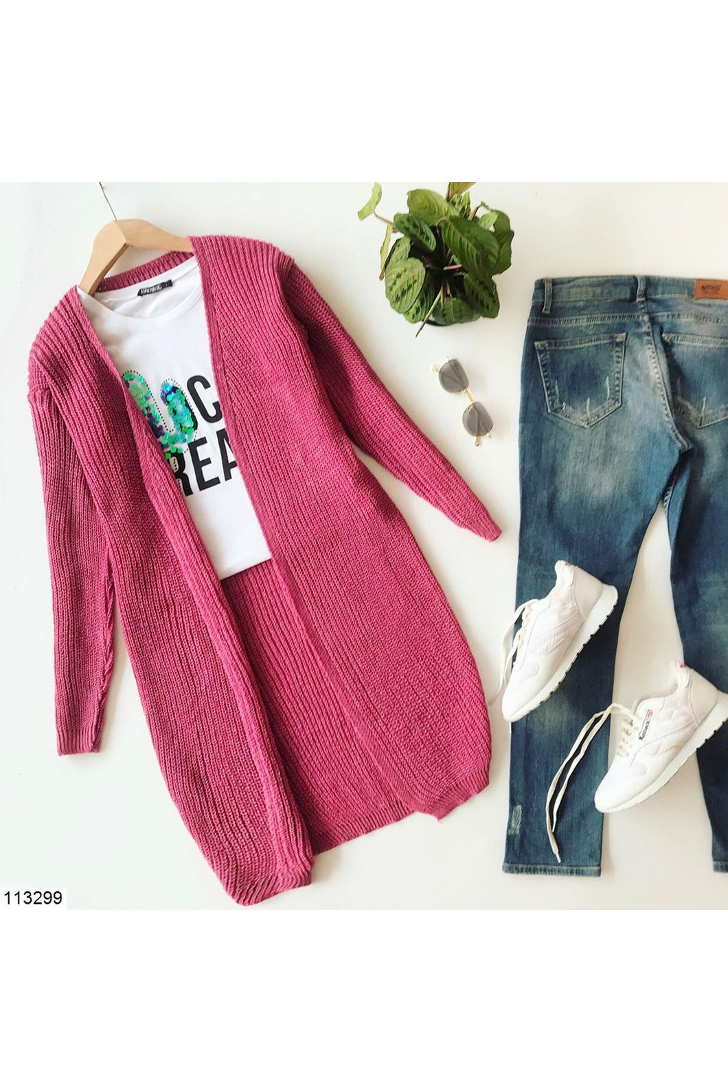 Women's Dusty Rose Tricot Cardigan