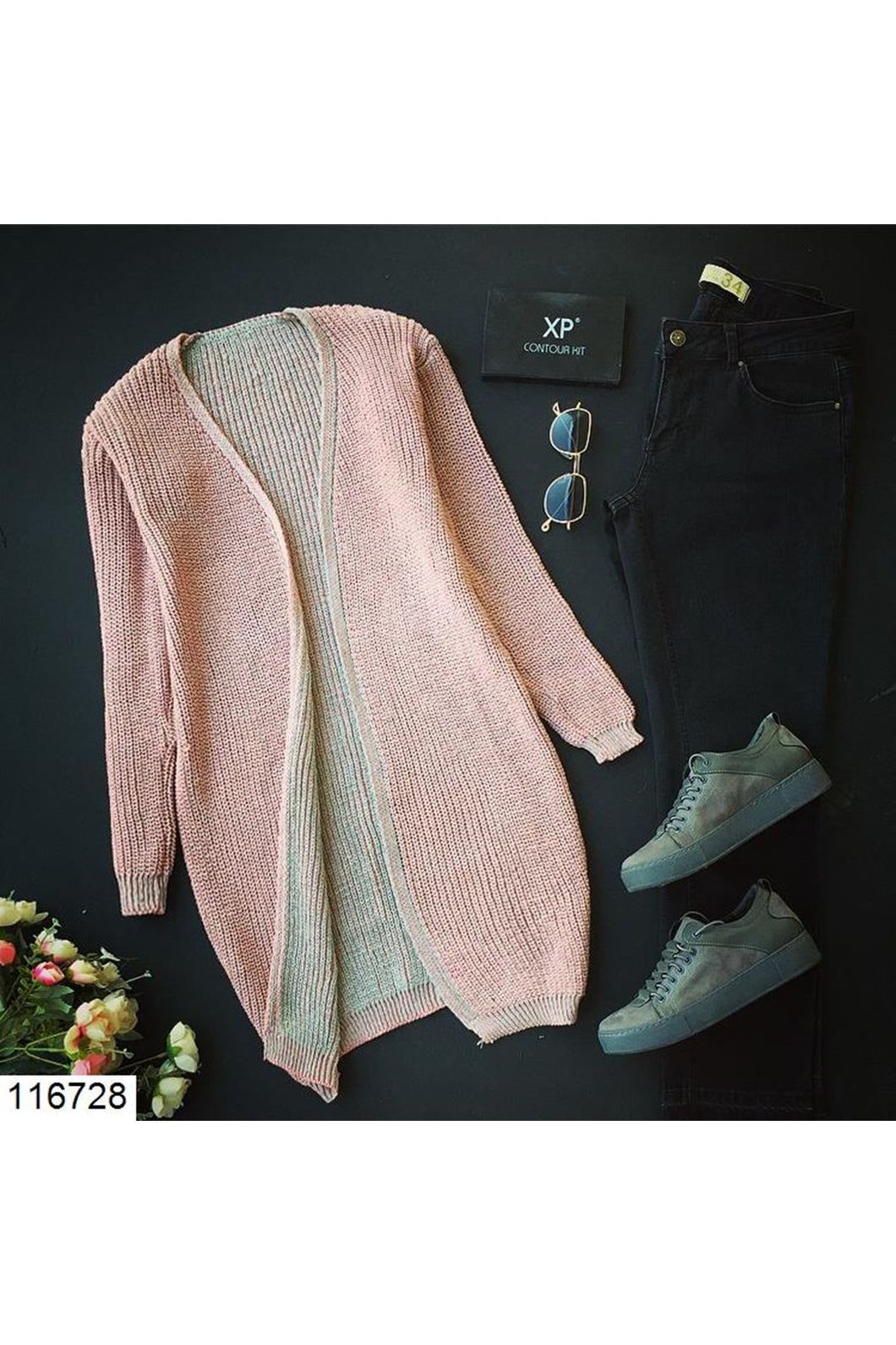 Women's Pink Tricot Cardigan