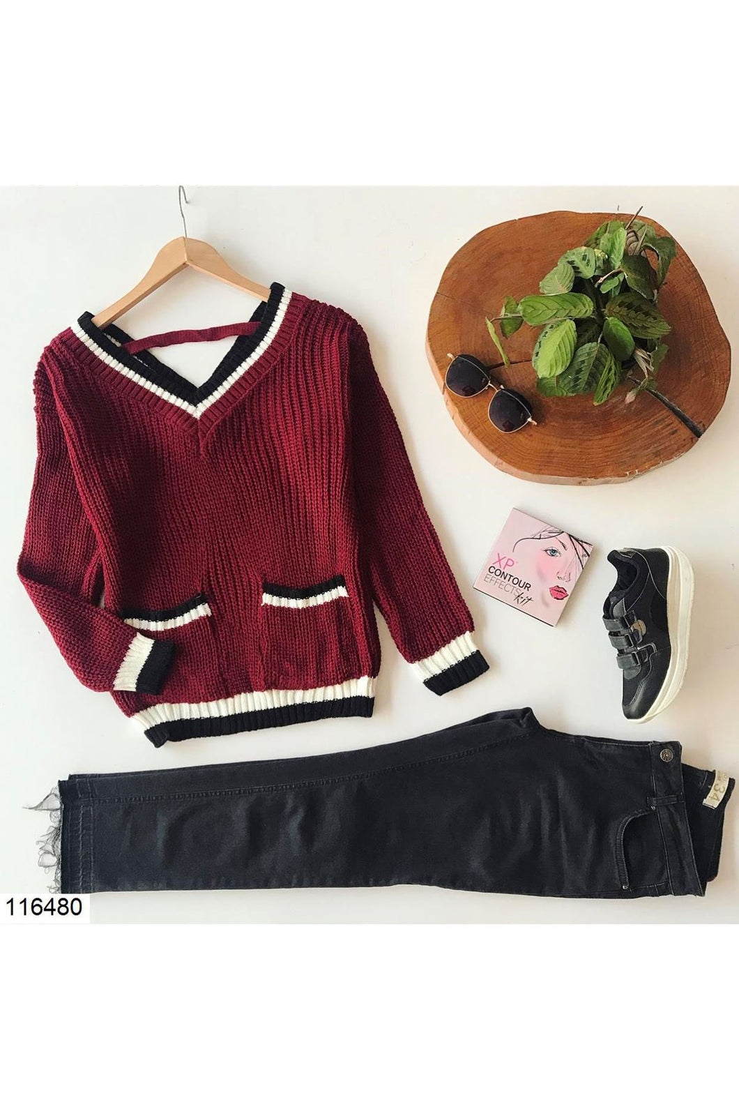 Women's V Neck Claret Red Tricot Sweater