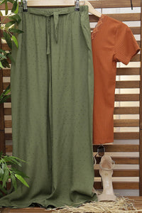 Women's Belted Wide Legs Green Pants