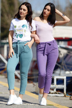 Load image into Gallery viewer, Women's Belted Aqua Green Pants