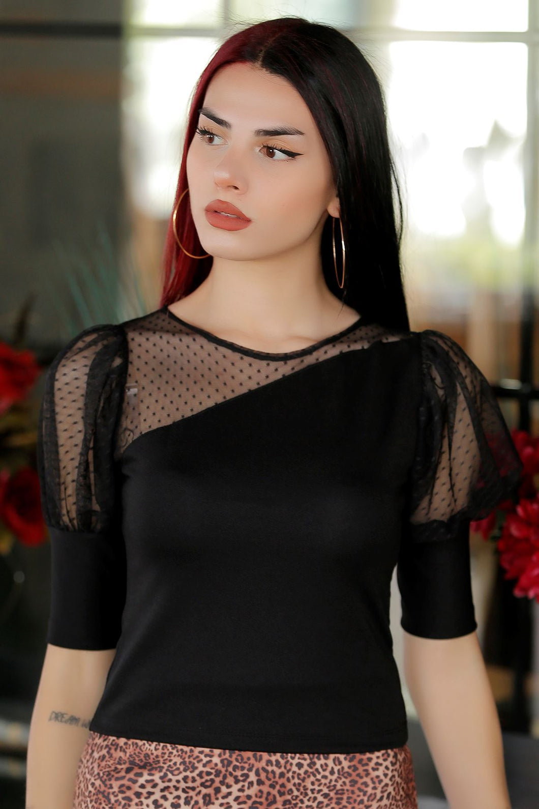 Women's Tulle Detail Black Blouse